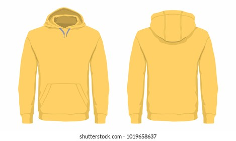 Men's yellow hoodie. Front and back views on white background