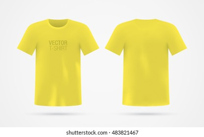 Men's yellow vector T-shirt template, isolated on background. Men's realistic yellow T-shirt mockup. Front & rear sides.