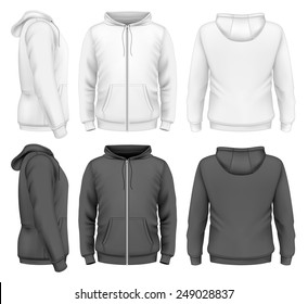 Men's zip hoodie white and black design templates (front view, back and side views). Photo-realistic vector illustration.