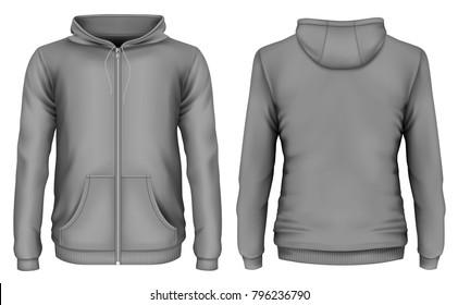 Men's zip-up hoodie. Front and back views of hooded sweatshirt. Vector illustration