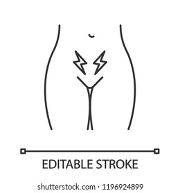 Menstrual cramps and pain linear icon. Lower abdominal acute pain in women. Strangury. Infertility. Uterus and ovary disorders. Contour symbol. Vector isolated outline illustration. Editable stroke