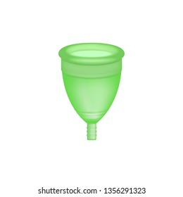 Menstrual cup 3D realistic. Feminine hygiene. Green color menstrual cup. Protection for woman in critical days. Vector illustration on white background