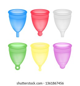 Menstrual cup 3D realistic. Feminine hygiene. Vector set of illustrations with female hygiene product, menstrual period cup. Icons of different types of silicone cups. Women health product
