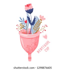 Menstrual cup with flowers and leaves. Eco protection for woman in critical days. Vector illustration on white background.