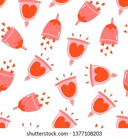 Menstrual cup. Menstruation theme. Period. Feminine hygiene product. Zero waste object. Menstrual protection, feminine hygiene. Hand drawn vector illustration. Seamless pattern