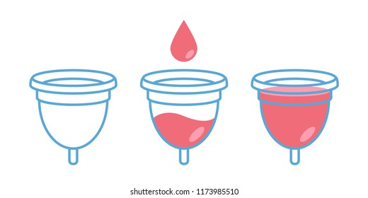 Menstrual cup in use, female period hygiene product. Vector illustration set isolated on white.