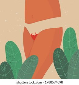 Menstrual period concept. Womens thighs with blood-stained panties. Feminine hygiene. Menstrual protection. Vector stock illustration. For website and article design, application and print.