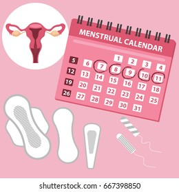 Menstruation calendar with cotton tampons. Woman hygiene protection. Woman critical days. Set of women's means personal hygiene vector illustration, feminine hygiene pads, uterus, menstruation