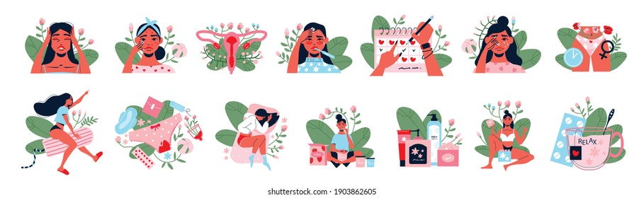 Menstruation color set of feminine hygiene products and young girls showing pms symptoms and menstrual pain isolated vector illustration