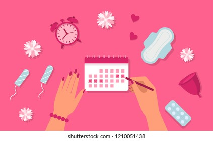 Menstruation concept. Woman hands, clock, pad, tampon, pills. Menstruation cycle. Vector.