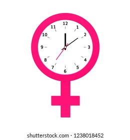 Menstruation cycle symbol .  Menopause  icon with clock