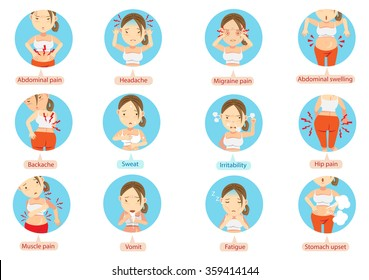 menstruation pain or stomach ache.Cartoon character of the women in the circle vector illustration.
