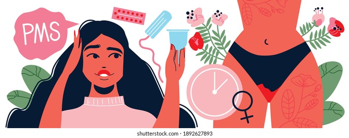 Menstruation pms woman composition with images of girl body with thought bubble and female sanitary supplies vector illustration