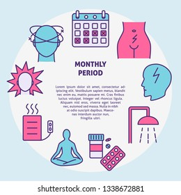 Menstruation round concept banner in line style with place for text. Menstrual monthly period symptoms and treatment symbols. Medical vector illustration.