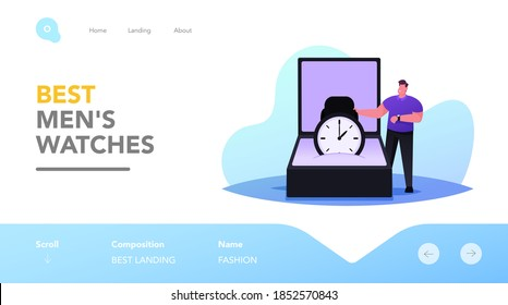 Menswear Boutique Landing Page Template. Tiny Male Character Stand at Huge Box with Modern Luxury Watch. Elegant Man Buying Luxury Accessories in Fashion Store, Shopping. Cartoon Vector Illustration