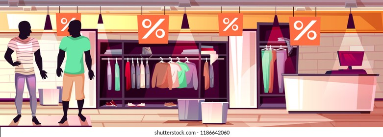 Menswear fashion boutique interior vector illustration of men clothes sale. Suits, trousers and shirts on mannequins in shop window display, dressing room and checkout counter on cartoon background