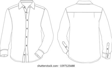 Menswear shirt vector drawing EPS10, fashion drawing, menswear fashion.
