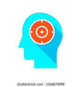 Mental concentration icon. Mind focus icon concept. Marketing concept, target group, ambitious mindset, aspirations, hit target, neuroscience and psychology, vector icon