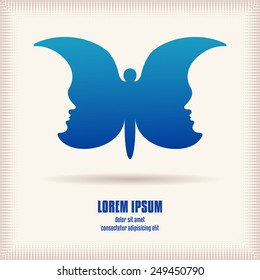 Mental concept logo template. Two human faces like wings of butterfly. Design element abstract symmetric form. Idea for logo or corporate identity. Vector file is EPS8.