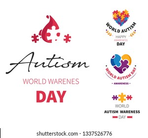 Mental disease autism day isolated icon disability and socializing problem puzzle or jigsaw health and medicine slow development asperger syndrome tolerance and solidarity emblems autistic behavior