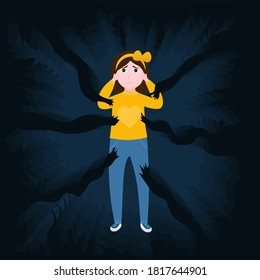 Mental disorder, little girl crying, scared kid surrounded by frightened ghost arms, childhood nightmares, bullying in school or domestic violence