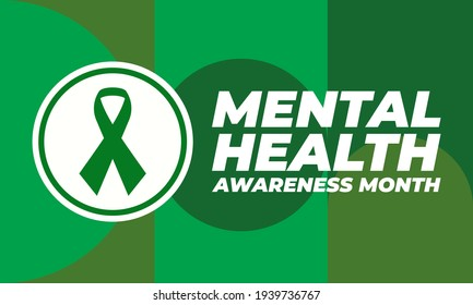 """Mental Health Awareness Month (also referred to as """"Mental Health Month"""") has been observed in May in the United States since 1949. Medical concept design. Vector EPS 10."""