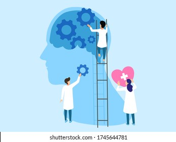 Mental health ,brain development  medical treatment concept, doctors  work together to set up heart and gear to brain, setting good mindset and attitude on gear   background , vector  illustration