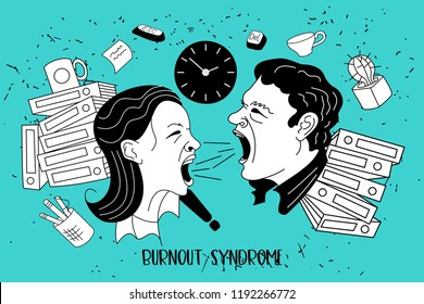 Mental health. Burnout syndrome. Chronic fatigue. Depression. Mental disorder. A woman and a man yelling at each other. They can not do the job. Vector illustration.