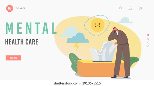 Mental Health Care Landing Page Template. Anxious Woman Suffer of Depression and Anxiety Problem Crying near Huge Box with Wipes. Female Character need Psychological Help. Cartoon Vector Illustration
