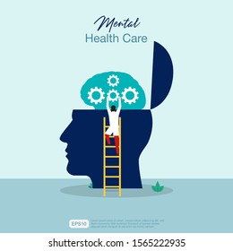 Mental health care treatment vector illustration concept. specialist doctor work  to give psychology therapy. Tiny people character with ladder design. Banner, poster, or media social printing