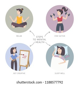 Mental health care vector illustration. Steps to mental health. Set of infographic elements