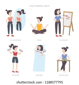 Mental health care vector illustration. Steps to mental health. Big set of infographic elements