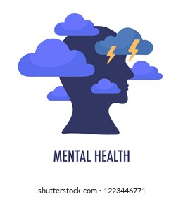 Mental health concept illustration. Head silhouette icon with clouds and lightning. Depressive state of mind,anger, bad mood, OCD. Psychology and psychiatry sign logo. Vector isolated on white