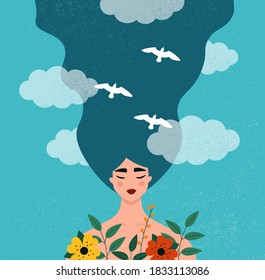 Mental health concept. Portrait of a happy young beautiful woman. Idea of creative thinking, positive mindset. Flat vector illustration with a pretty and peaceful female character