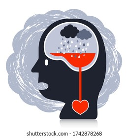 Mental health concept of a suffering cartoon character. The cloud and rain symbolize ongoing stress affecting the emotional and heart health.