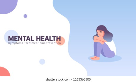 Mental health concept web banner with cartoon character vector illustration