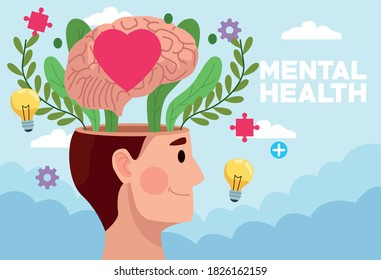 mental health day man profile and heart in brain with icons vector illustration design