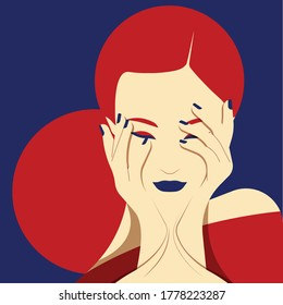 Mental Health Disorder -  depressed woman with hands on face - sad woman with hands on face