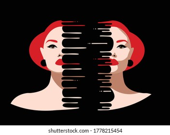 Mental Health Disorder -  divided depressed woman face in a black background