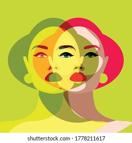 Mental Health Disorder -  duplicate woman's face - two women in one - double personality