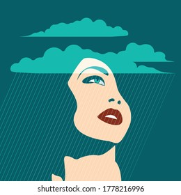 Mental Health Disorder -  face of depressed woman under rain and clouds landscape
