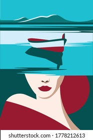 Mental Health Disorder -  image with landscape of boat, mountains and sea or river - about woman's thoughts - over woman's head