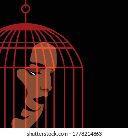 Mental Health Disorder -  imprisoned woman - woman trapped in cage