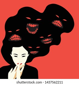 Mental Health Disorder - Schizophrenia - Oriental woman with different faces in her hair