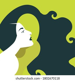 Mental Health Disorder - woman looking for her face through her hair