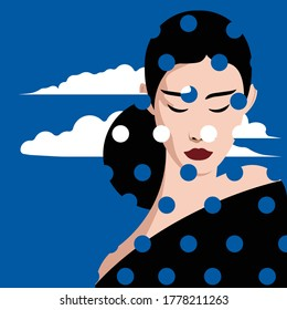 Mental Health Disorder -  woman lost in thought - on colorful dots and cloud background - depressed woman