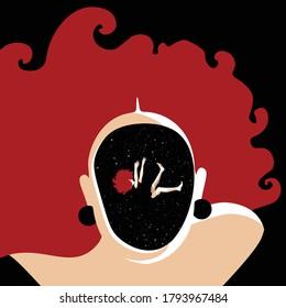 Mental Health Disorder - woman lost inside her head