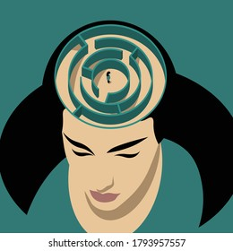 Mental Health Disorder - woman with maze of head