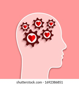 Mental health and emotional well-being concept. Human head and gears with heart shapes inside as brain and mind symbol.