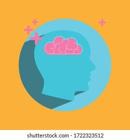 Mental health, flat design, with orange, blue, pink